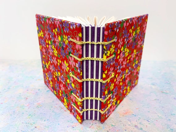 Pretty Red Flower Square Japanese Coptic Stitched Book with decorative purple spine, Chiyogami Paper, Sketchbook, Notebook, Journal, Flower