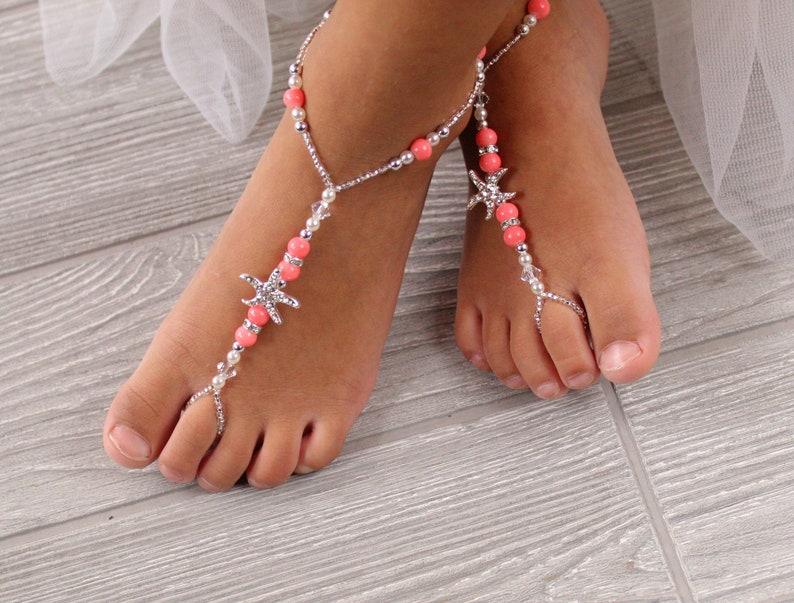 e6e2f07c7ddae6 Flower Girl Barefoot Sandals Feet jewelry Beach wedding