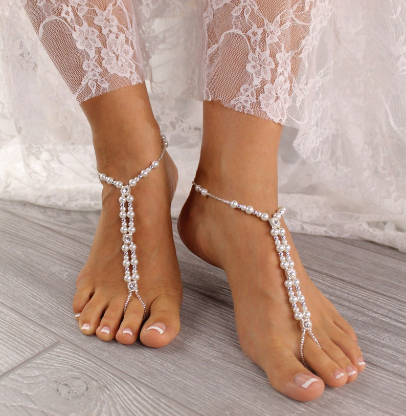 0d409294f07d Beaded Barefoot sandals Bridal foot jewelry Rhinestone and