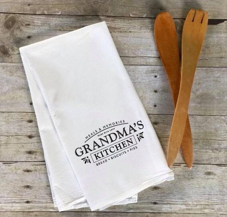 Flour Sack Tea Towel-Custom Name OR Grandma's Kitchen Grandma's Kitchen