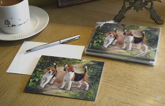 beagle HAVING TEA  ANIMAL dog art notecard envelope set