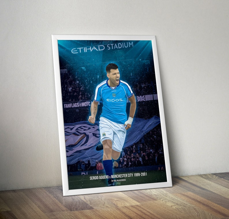 competitive price 8c77c 233f2 Sergio Aguero - Manchester City Retro Kit 1999 - 2001 - A3 or A4 Print