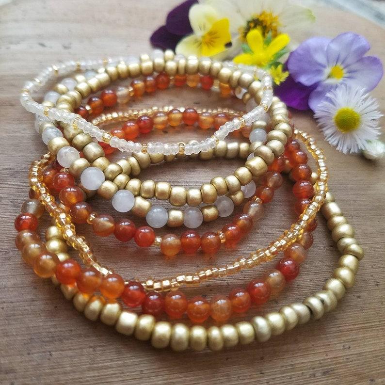 Set of beaded bracelets  gemstone carnelian rose quartz matte gold bohemian crystal jewelry