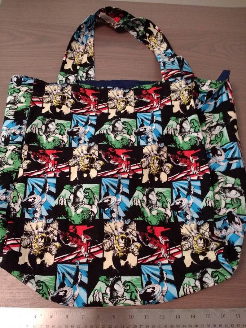 Farmer/'s Market Bag Handmade Grocery Bag Large Tote Beach Tote Diaper Bag Marvel Print Reversible Tote