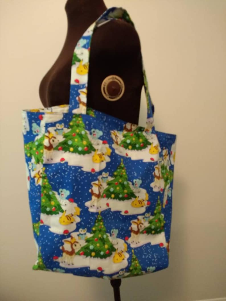 Grocery Bag Large Tote Beach Tote Diaper Bag Handmade Christmas Pokemon Reversible Tote Farmer/'s Market Bag