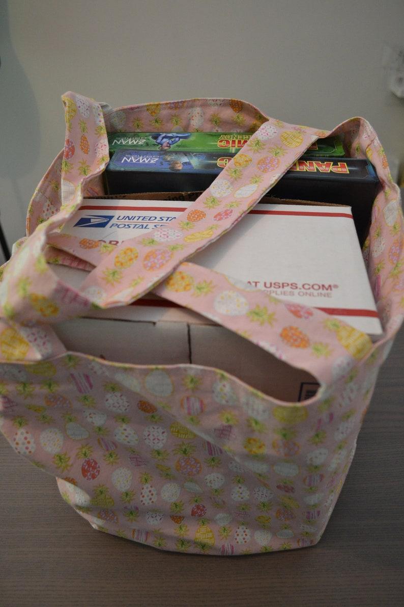 Pineapple Print Large Reversible Reusable Grocery Shopping Beach Farmers Market Bag Handmade Tote