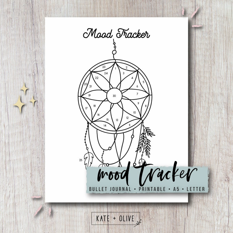 photograph relating to Legend of the Dreamcatcher Printable titled Temper Tracker Printable Add - Dreamcatcher Bullet Magazine Bujo Planner Template Immediate Obtain PDF Letter A5 Measurement