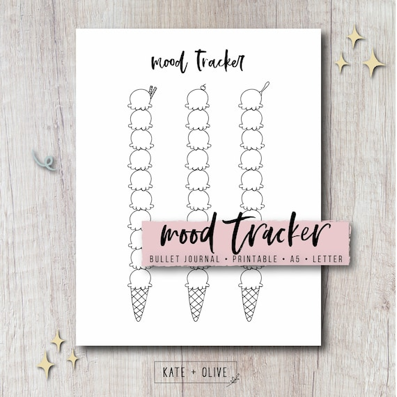 Mood Tracker Printable - Ice Cream | Insert for Bullet Journal, Bujo,  Planner | Instant Download PDF | Letter & A5 Size