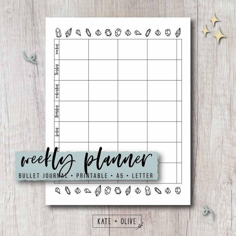 picture relating to Bullet Journal Weekly Spread Printable referred to as Bullet Magazine Weekly Planner Printable Increase - Gems Template One Webpage Distribute Undated PDF Template Immediate Down load Letter A5