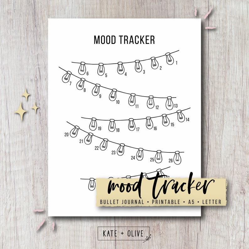graphic relating to Bullet Journal Mood Tracker Printable titled Temper Tracker Printable Bullet Magazine Incorporate - String Lighting Instantaneous Down load PDF Letter A5 Dimensions