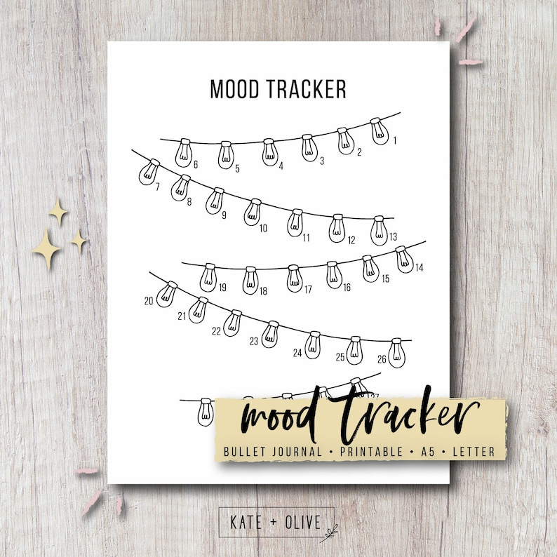 picture about Printable Mood Tracker named Temper Tracker Printable Bullet Magazine Add - String Lighting Immediate Obtain PDF Letter A5 Dimensions