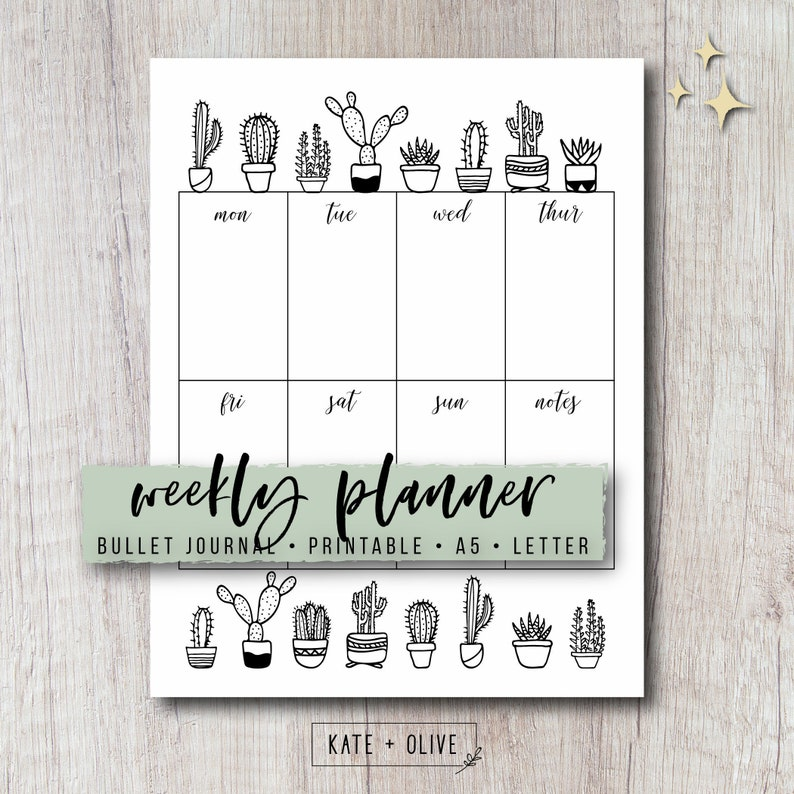 picture about Bullet Journal Weekly Spread Printable known as Bullet Magazine Weekly Planner Add - Cactus Printable PDF Template  A single Website page Unfold Undated Template Instantaneous Down load Letter A5