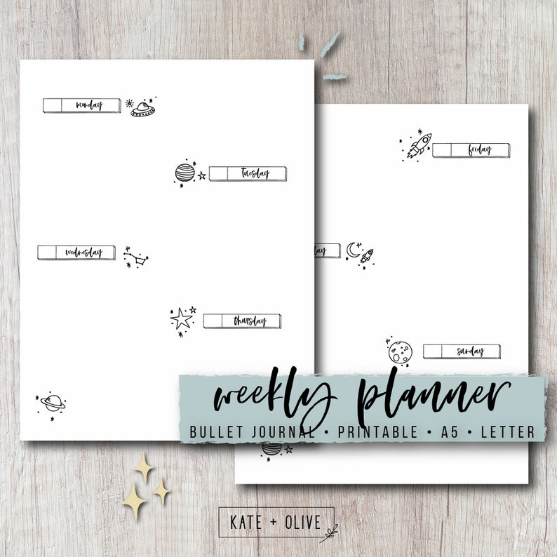 Bullet Journal Weekly Planner Printable Insert - Space | Two Page Spread |  Undated PDF Template | Instant Download | Letter & A5 Size