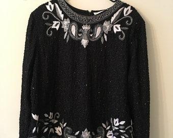 86e22e4183f Drapers   Damons black white beaded vintage blouse
