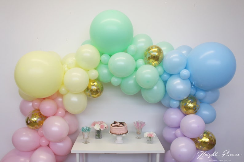 Pastel Rainbow Balloon Garland Perfect for Baby Showers DIY Kit comes with everything you need Birthdays and Unicorn Parties!