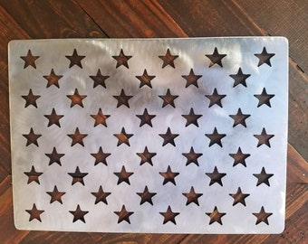 a97a27391b43 American flag stencil wooden flag star stencil steel 10.5 x 14.82 template  cnc cut for flags 19.5