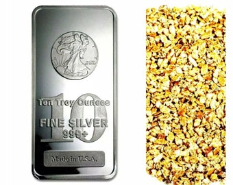 10 PIECE ALASKAN PURE GOLD NUGGETS 1 TROY OZ .999 SILVER 1916 WALKING LIBERTY