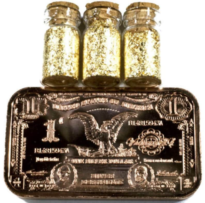 100 .5 ML GLASS JARS OF 24K GOLD LEAF FLAKES LOT X 100 FREE SHIPPING