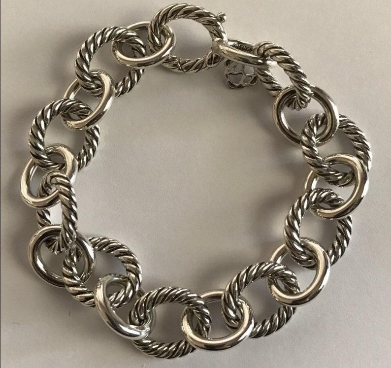 506da8684 Vintage David Yurman large 12mm sterling oval link bracelet 8 image 0 ...