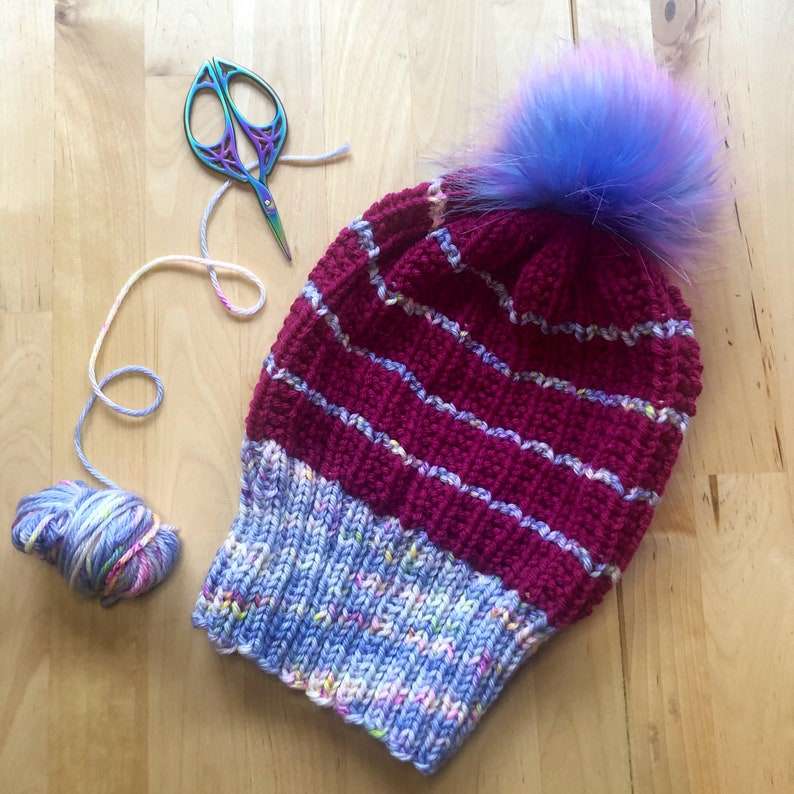 Speckled Blue and Raspberry Striped Slouchy Hat with Pink and Blue Pom