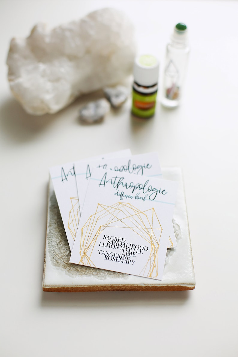 bb016063a0d0d The 'Kristina' Anthro Inspired Diffuser Blend Tag (Includes Recipe) //  Diffuser Blend,Mylar Bag,Essential Oil,Modern,Geometric, Young Living