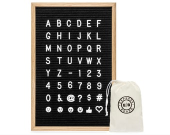 felt letter board premium 12x18 inch black changeable letter board 700 white letters and emojis 1 and 34 inch letters two cloth bags