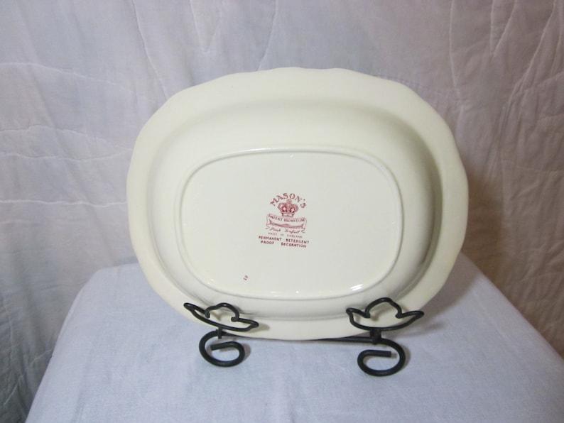 Scalloped Edge Serving Bowl Cream with Ruby Flowers Mason/'s Patent Ironstone Vintage Used. Rectangular Pink Trefoil 10 Rectangular
