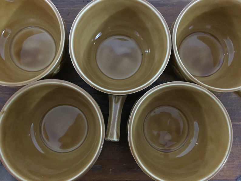 Set of 5 Vintage Retro Tams England Mustard Soup Bowls with Handles