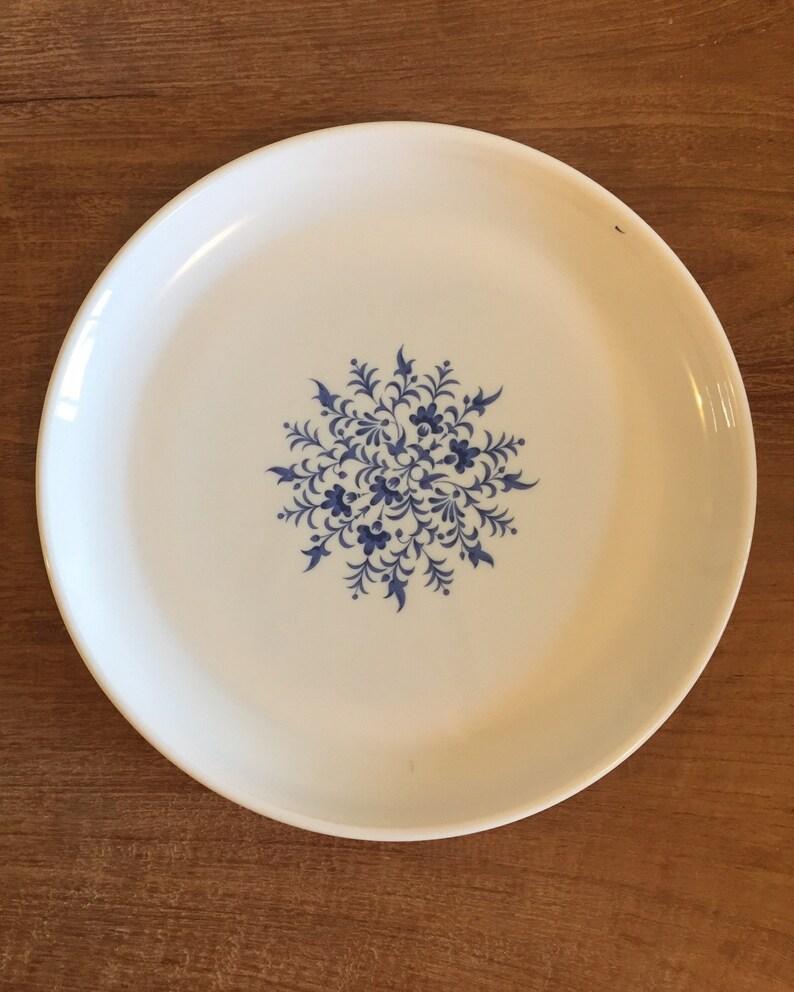 Blatt Muster Blauen Teller Frankreich Mit Blumen Sovirel Pyrex CeWBordx