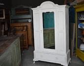 White Antique Cabinet Shabby chic wardrobe wardrobe-closet