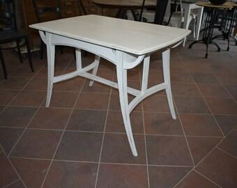 Vintage Tisch Mit Durchlebte Platte, Shabby Chic Weiß