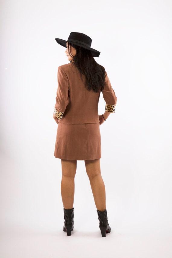 Vintage 90\u2019s Faux Leopard Jacket Mini Skirt Set