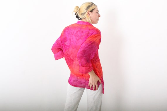 80s Pink and Orange Vibrant HIBISCUS Floral SHEER