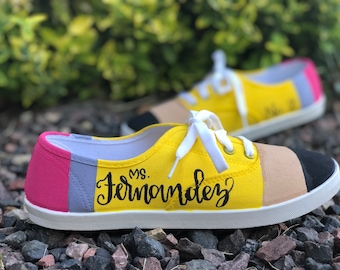 Hand painted Pencil Shoes student gift back to school teacher gift sneakers Christmas gift