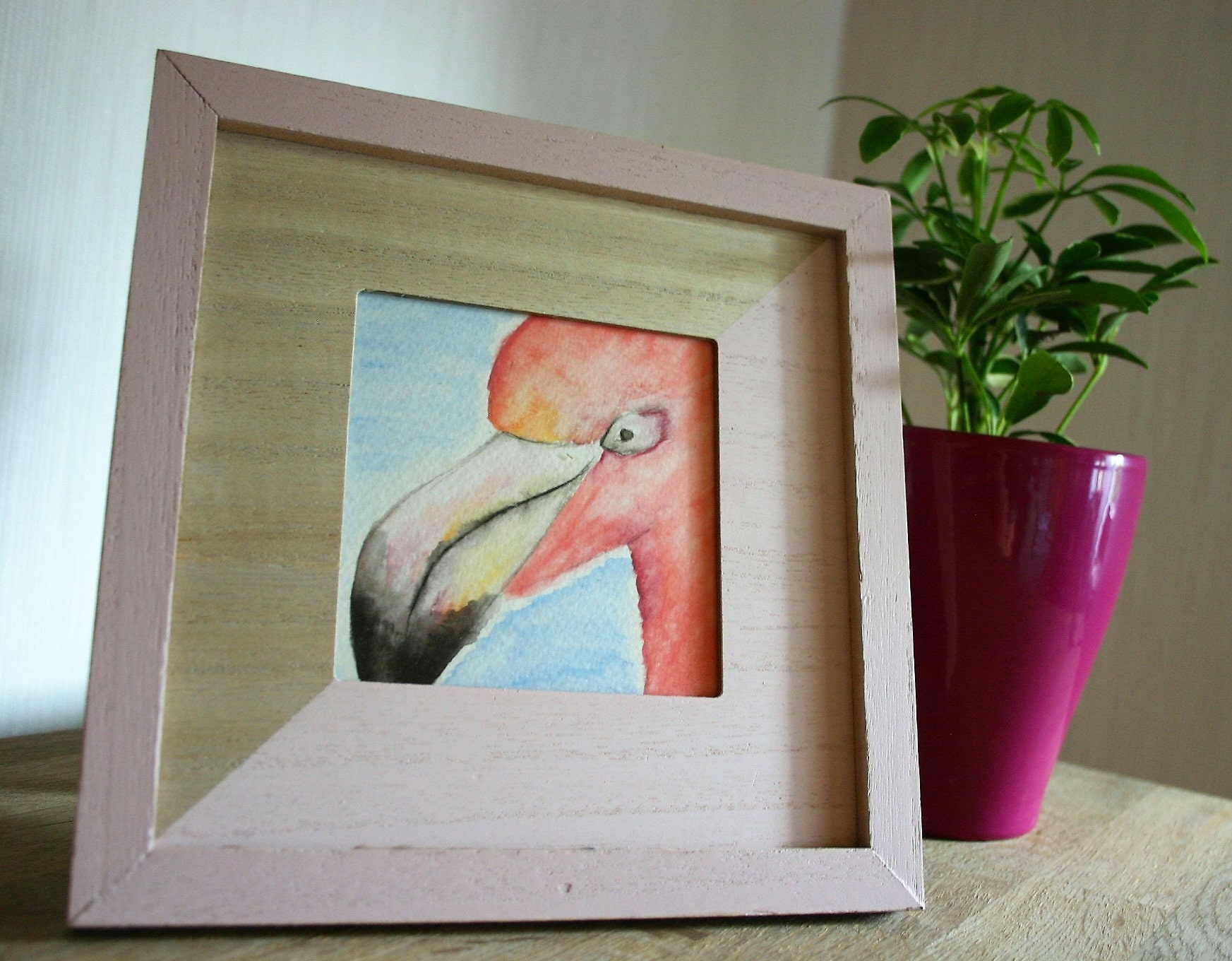 Aquarell Flamingo mit Rahmen