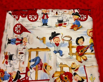 Red Minky Blanket with Little Cowboy Cook-Out-Cotton