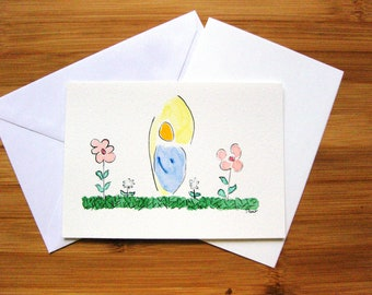 """Folding card """"Angels at the Flowers"""", hand-painted, watercolor and ink, folded card, """"angel by the flowers"""", handpainting"""