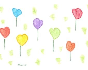 """5 postcards """"Heartflower Meadow"""", 5 postcards """"meadow of hearts"""""""