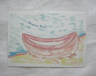 5 postcards- break boat, 5 postcards