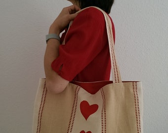 "Bag/Shoulder bag/cotton bag ""Heart Things"", red hearts, favorite piece"