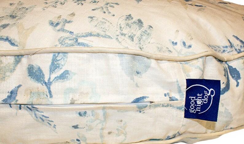 Menara Round Dog Bed Light Blue Bird/Floral Dog Bed in 3 image 0