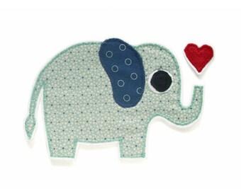 Farbe auswählbar Aufnäher // Bügelbild 9,8 x 9,8 cm Elefant Tier Thailand
