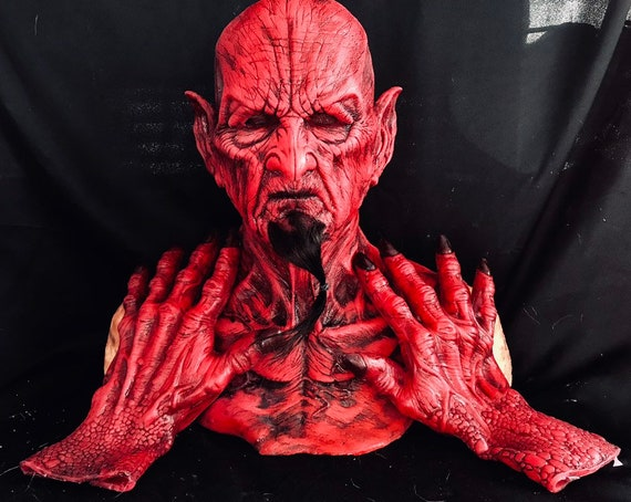 Red Zombie Demon Malum Silicone Mask and Gloves by WFX