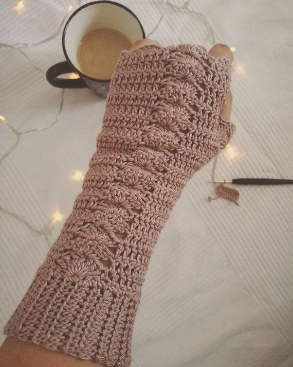 Crochet Fingerless Gloves Crocheted Warm Winter Mittens Etsy