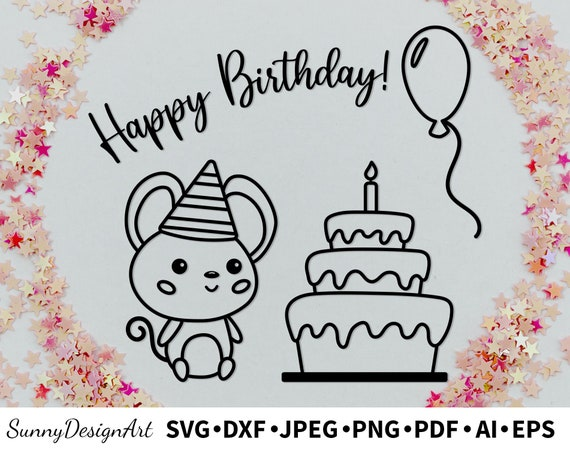 Svg Cute Kawaii Mouse With Birthday Cake And Balloon Png Etsy