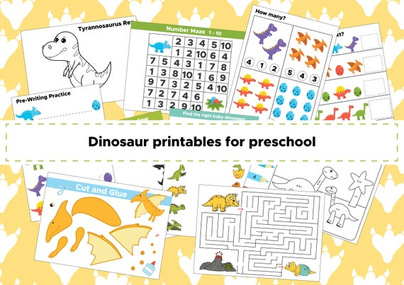 Dinosaur Preschool Activities, Dinosaur Learning Pack, Printable educational, Dinosaur Activities, Dinosaur Games, Instant Digital Download