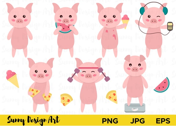 cute pig clipart vector piglets cartoon pig pigs clipart etsy