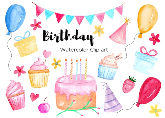 Birthday Clip Art Watercolor Birthday Party Bday Clipart