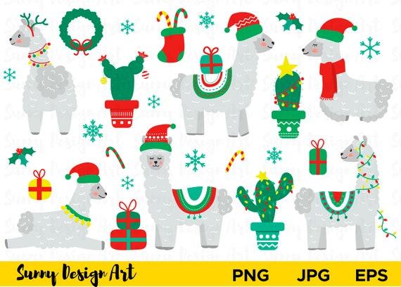 Clipart di Natale Llama decorato lama lama Alpaca vettoriale  7b1c2666b499