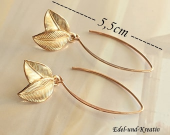 Earrings Rosegold delicate leaves,long earhooks 925 rosegold,leaf,rose gold leaves,bridal jewelry,wedding,earrings 925 silver rose gold,branch